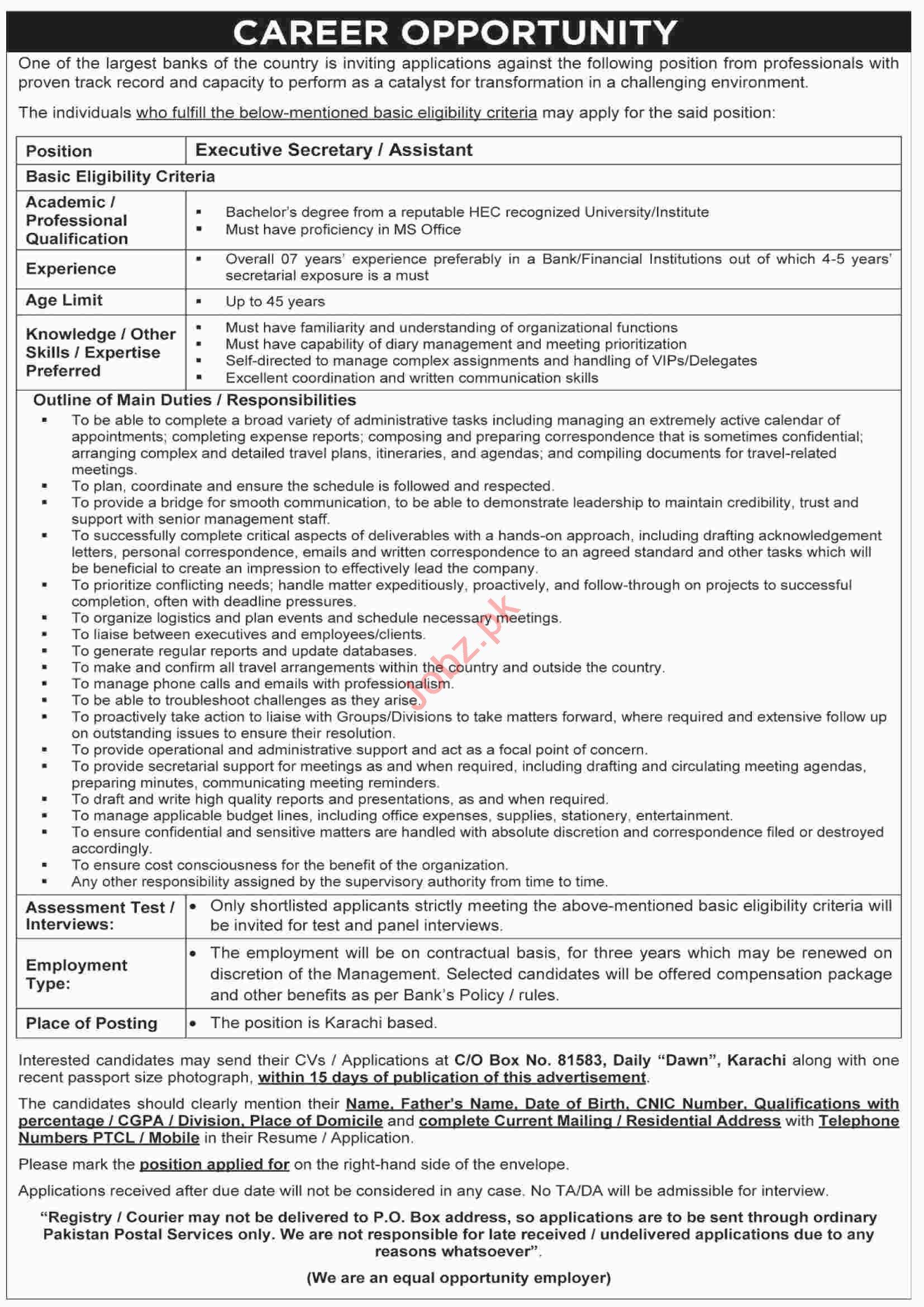 Executive Assistant Job in Karachi