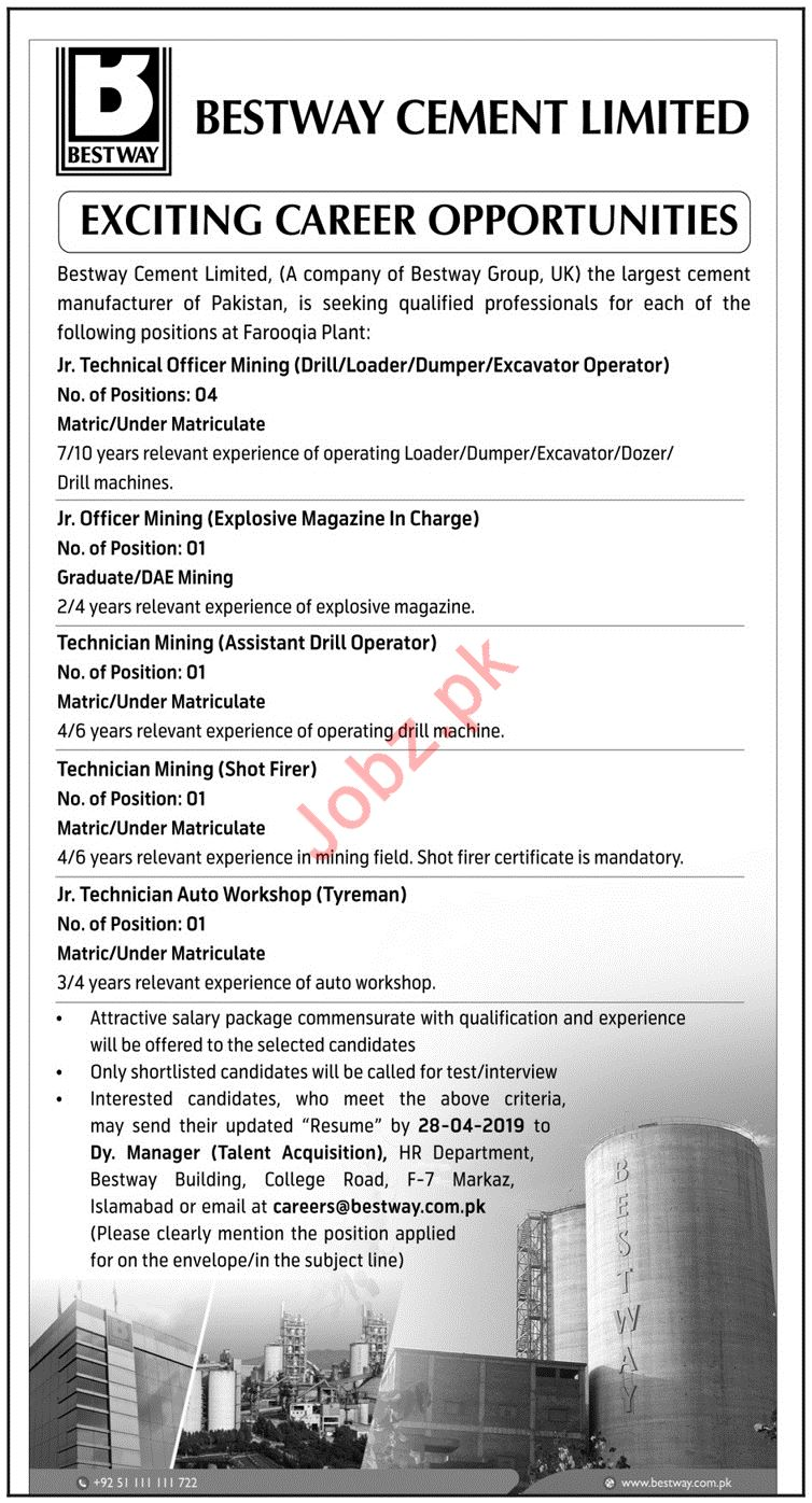 Bestway Cement Limited Jobs 2019 In Islamabad