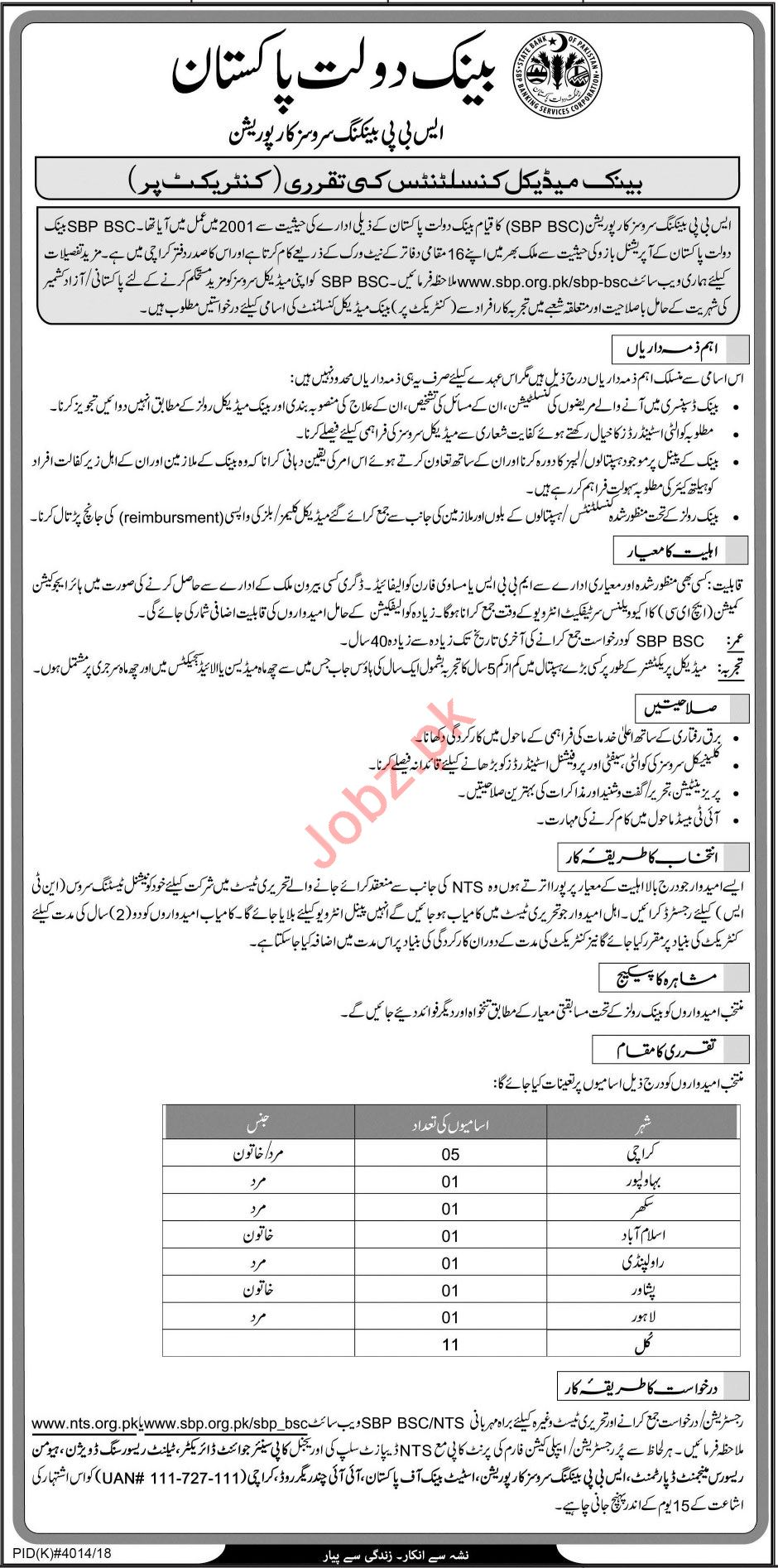 State Bank of Pakistan SBP Consultant Job 2019