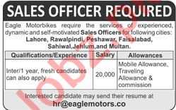 Eagle Motorcycle Pakistan Sales Officer Job in Lahore