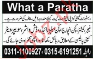 What a Paratha Restaurant Job 2019 in Islamabad