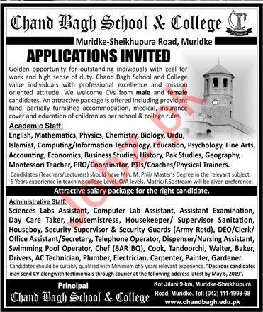 Chand Bagh School & College Muridke Jobs for Academic Staff