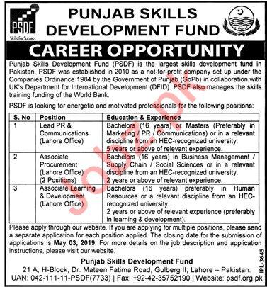 Punjab Skill Development Fund PSDF Jobs 2019