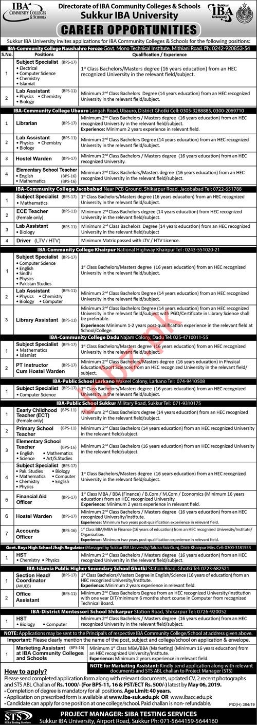 Sukkur IBA University Teaching & Non Teaching Jobs 2019