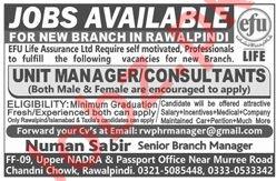 Efu Life Assurance Limited Jobs 2019 In Rawalpindi