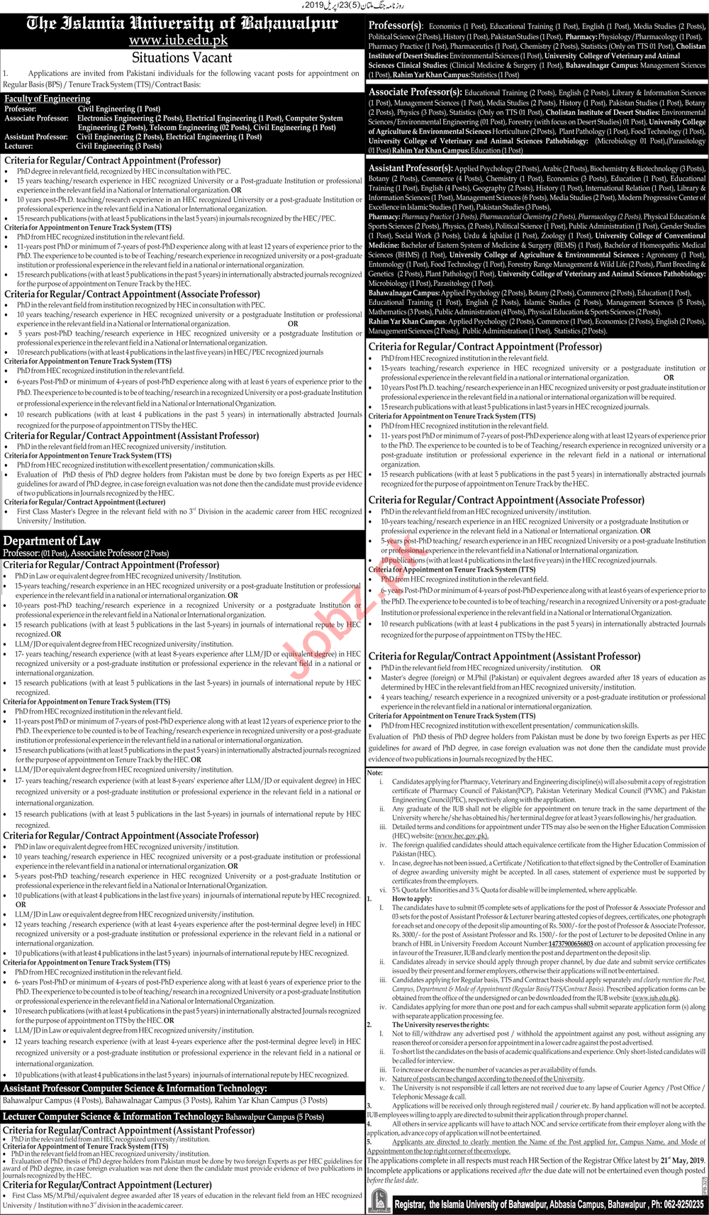 The Islamia University of Bahawalpur Teaching Jobs 2019