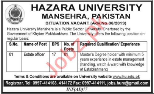 Hazara University Estate Officer Job in Mansehra