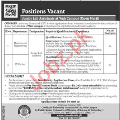 Comsats University Jobs in Islamabad