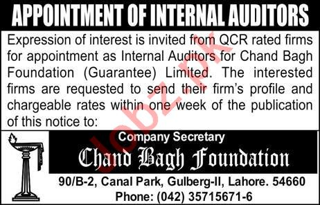 Chand Bagh Foundation Auditor Job in Lahore