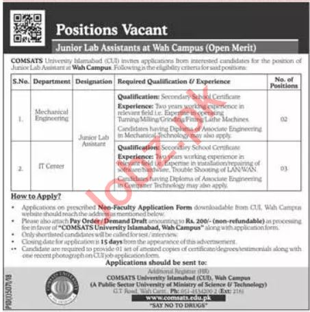 Comsats University Lab Assistant Job in Islamabad