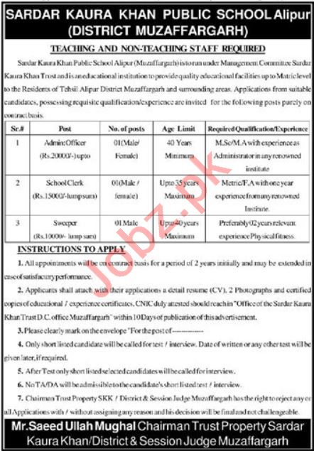 Sardar Kauray Khan Public Higher Secondary School Jobs