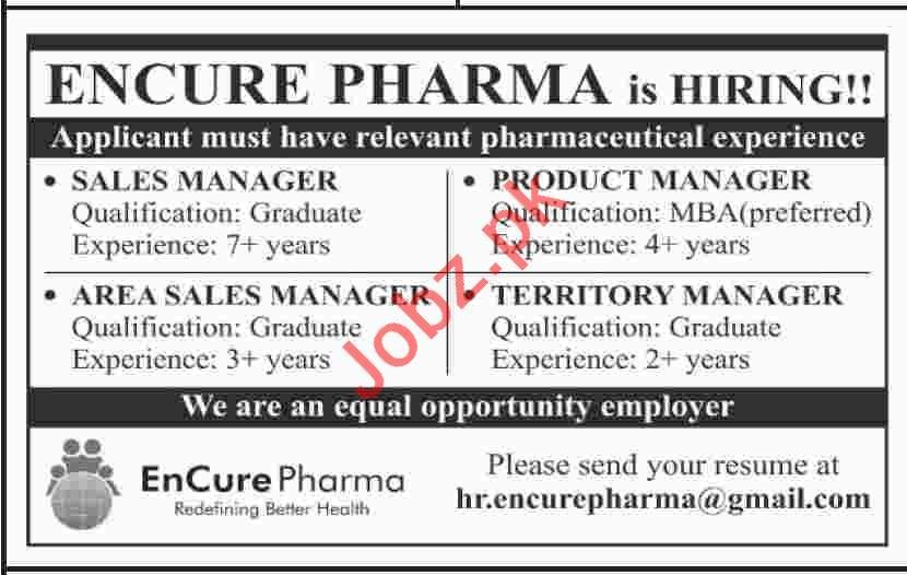 Encure Pharma Sales Manager Job in Karachi