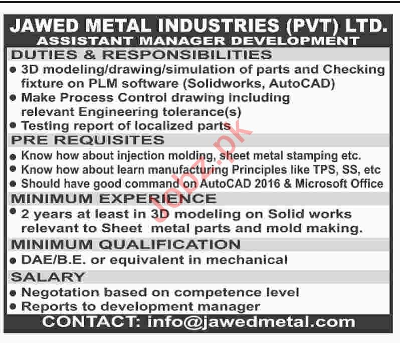 Jawed Metal Industries Assistant Manager Development Jobs