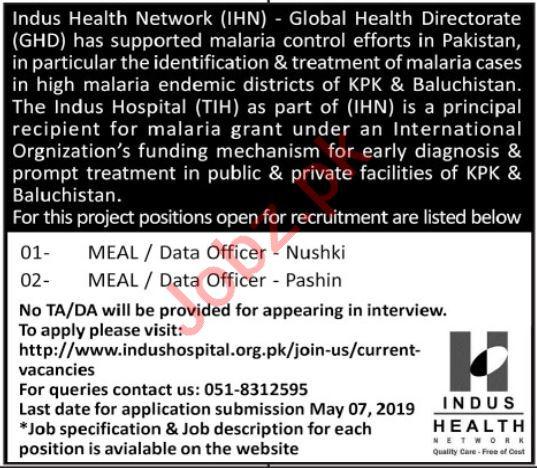 Indus Health Network IHN Data & Meal Officer Jobs