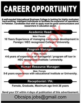 International Business College Jobs 2019 in Lahore
