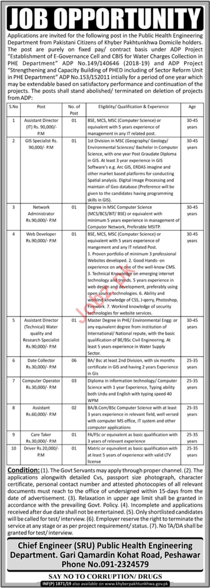 Management Jobs in Public Health Engineering Department