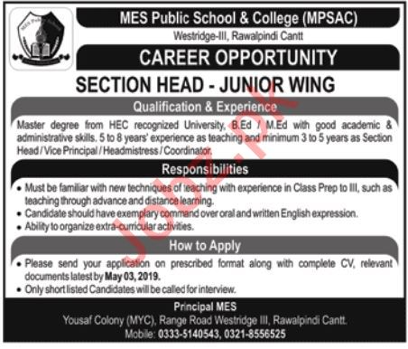 MES Public School & College MPSAC Section Head Jobs 2019