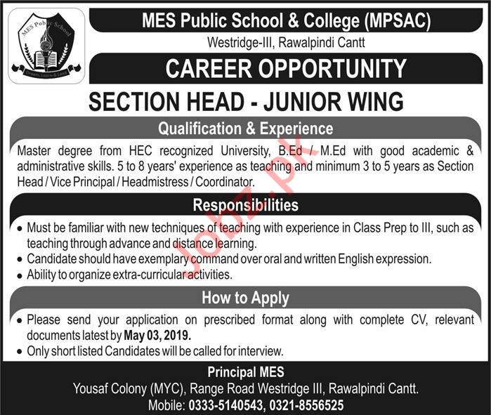 Section Head Jobs in MES Public School & College MPSAC