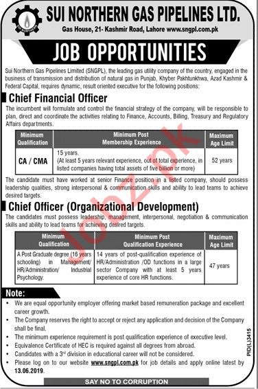 SNGPL Sui Northern Gas Pipelines Ltd Jobs 2019 in Lahore
