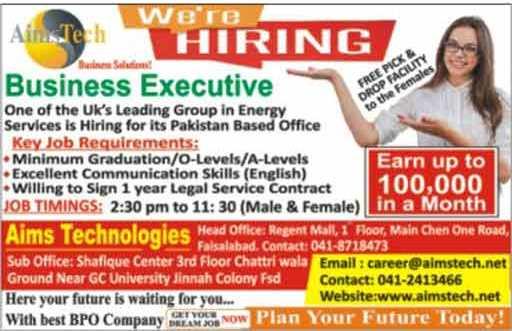 Aims Tech Call Center Business Executive Job
