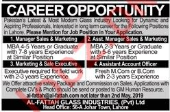 Al Fattah Glass Industries Lahore Jobs for Managers