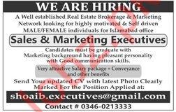 Sales & Marketing Executives Jobs 2019 in Islamabad