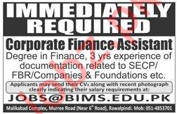 BIMS Institute Job 2019 For Corporate Finance Assistant