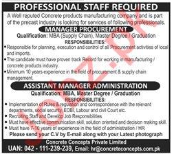 Manager Procurement & Assistant Manager Admin Jobs 2019
