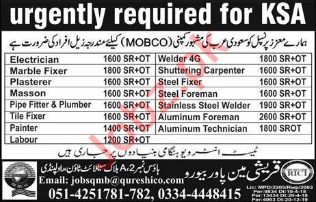 Electrician & Marble Fixer Job in Saudi Arabia