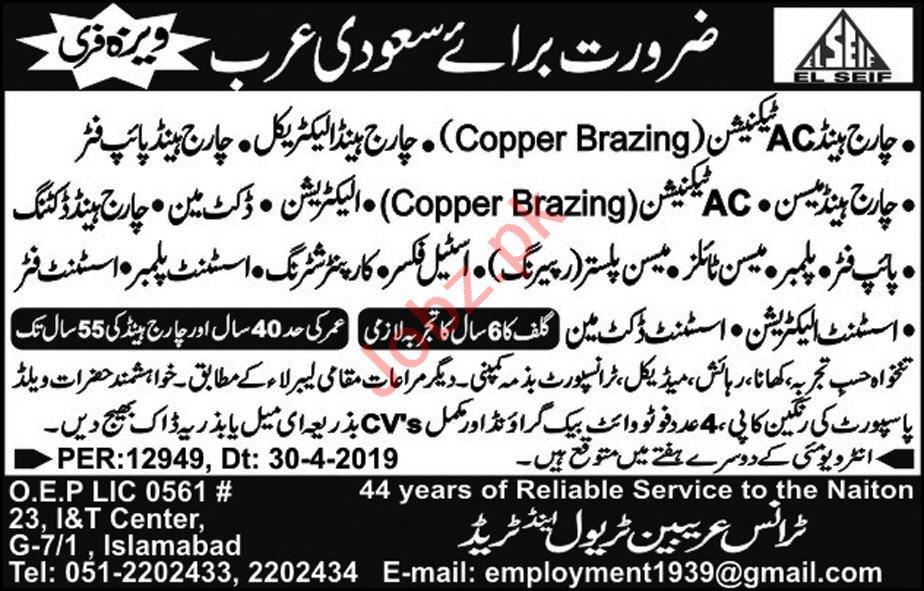 Charge Head & AC Technician Job in Saudi Arabia.