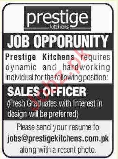 Prestige Kitchens Karachi Jobs 2019 for Sales Officer