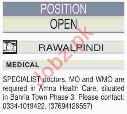 Medical Officer & Specialist Doctor Jobs 2019