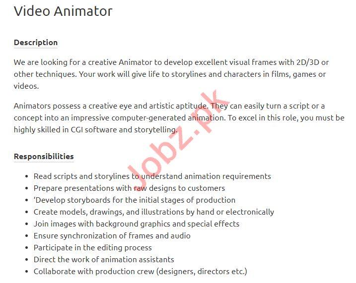 Video Animator Job 2019 in Karachi