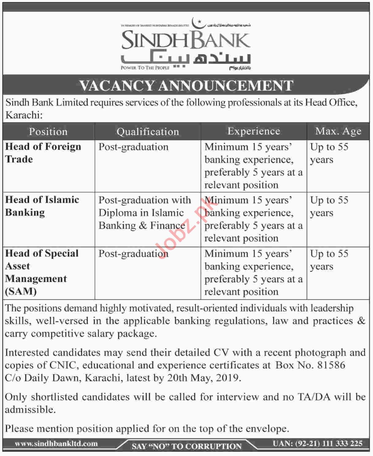 Sindh Bank Limited Management Job 2019