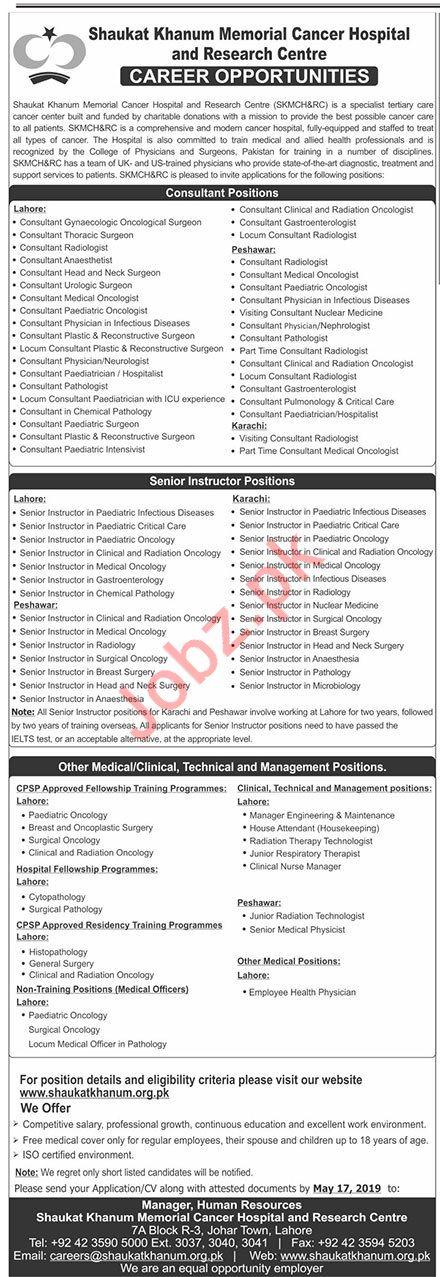 Shaukat Khanum Memorial Cancer Hospital Medical Jobs 2019
