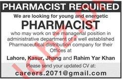 Pharmacists Jobs in Lahore, Kasur, Jhang & Rahim Yar Khan
