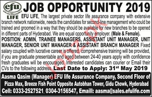 Management Staff Jobs in EFU Life Assurance