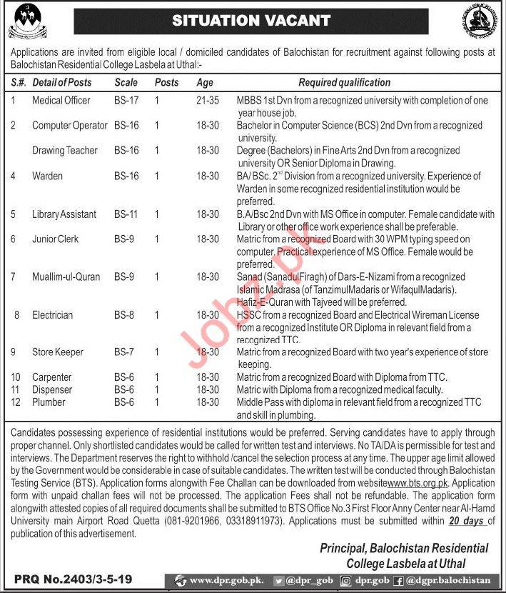 Balochistan Residential College Lasbela Jobs Through BTS
