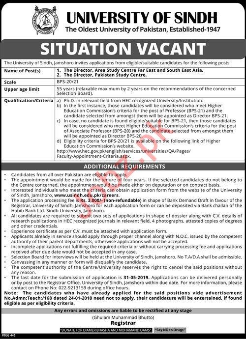 University of Sindh Jobs 2019 In Jamshoro