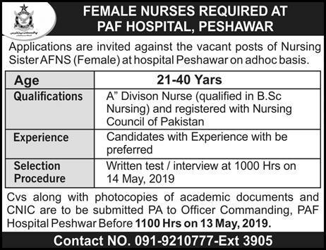 PAF Hospital Peshawar Nursing Sister Jobs 2019