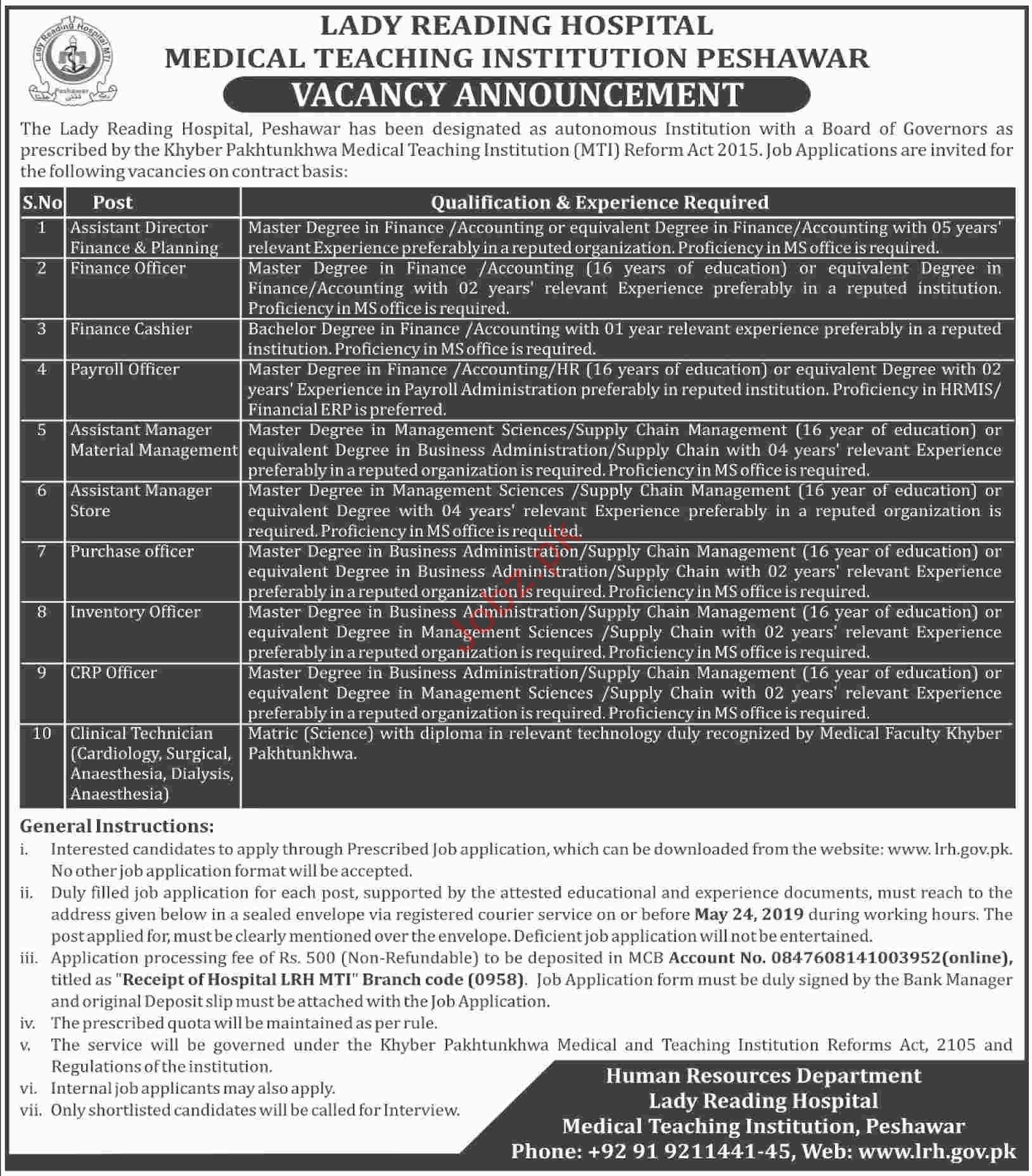 Lady Reading Hospital LRH Peshawar Jobs 2019