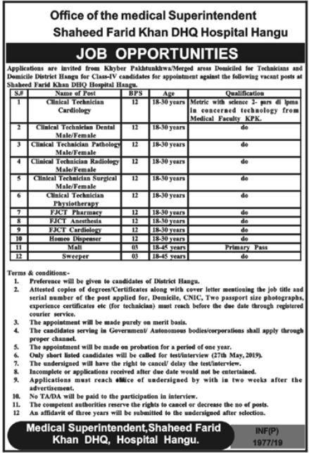 Shaheed Farid Khan Hospital Hangu Jobs 2019
