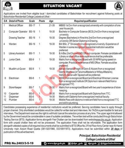 Balochistan Residential College Lasbela Jobs via BTS