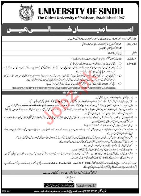 University of Sindh Jobs For Directors in Jamshoro