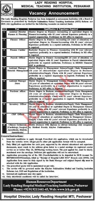Lady Reading Hospital Medical Teaching Institution Jobs 2019