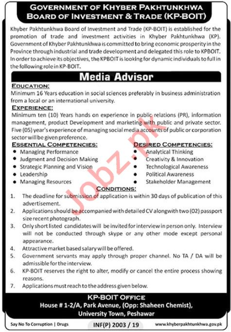 Board of Investment & Trade KP BOIT Jobs 2019