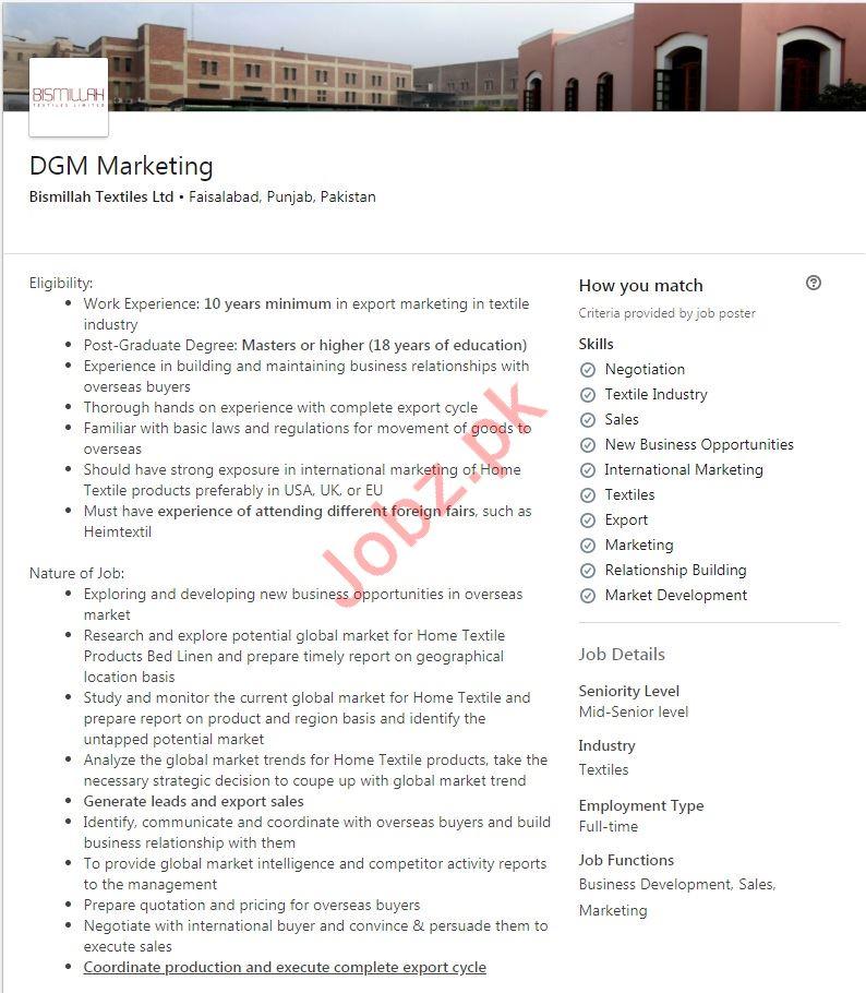 DGM Marketing Jobs in Bismillah Textiles Limited
