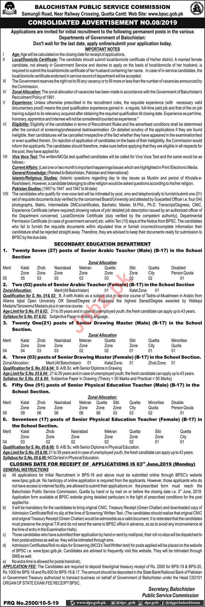 Secondary Education Department Jobs 2019 via BPSC