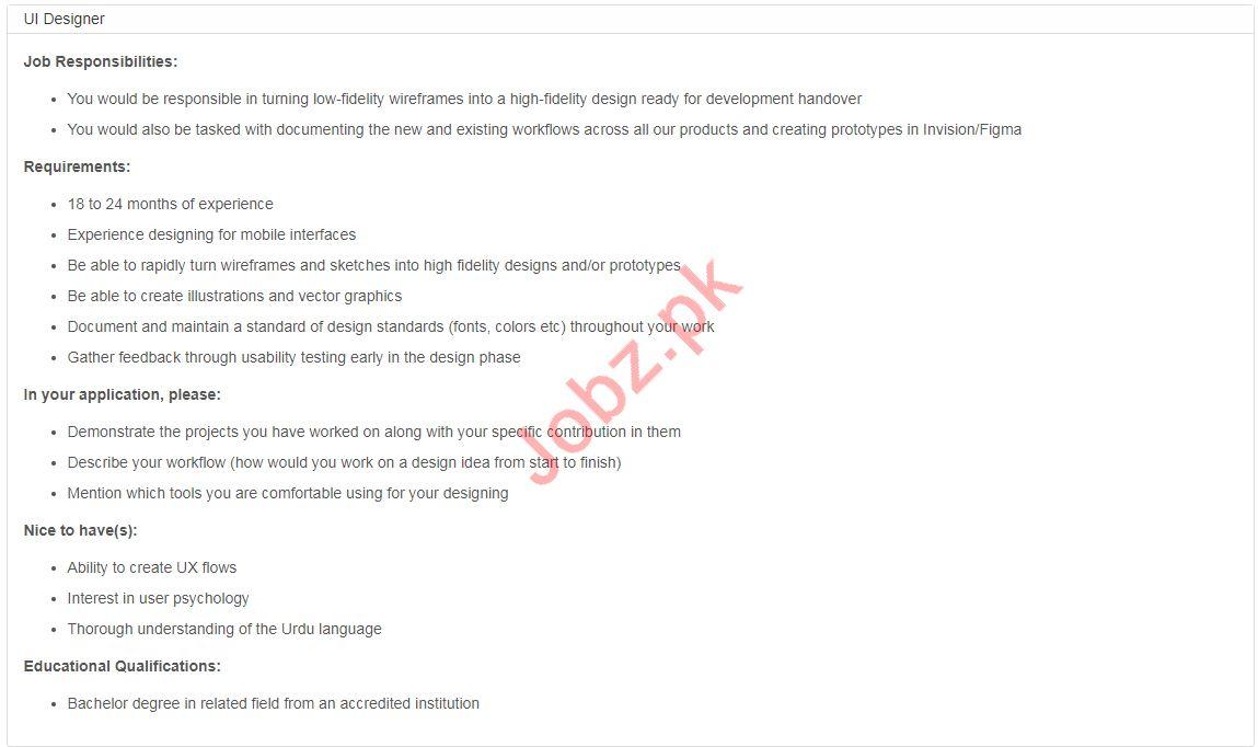 UI Designer Jobs in Bykea