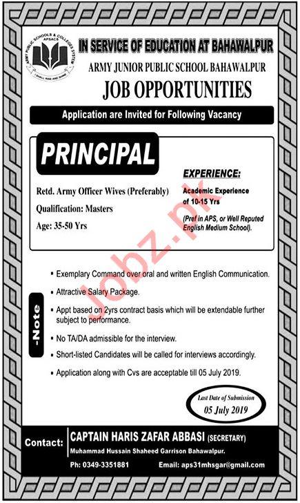 Army Junior Public School Job For Principal